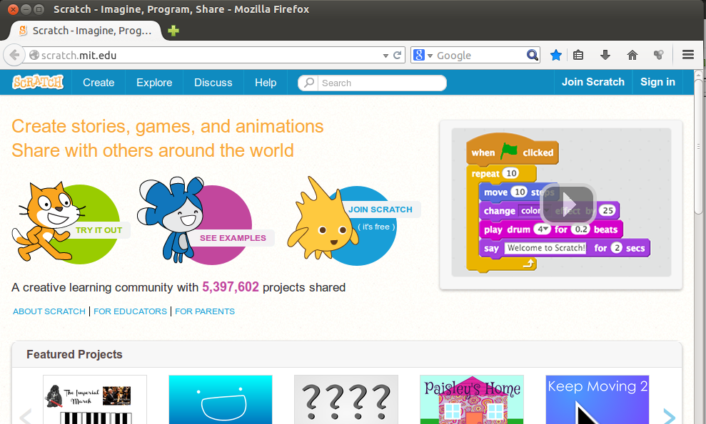 1. att. Scratch tīmekļa vietnes sākumlapa.