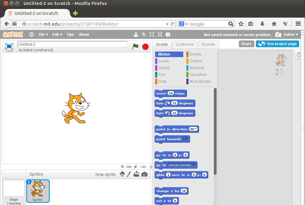 3. att. Scratch 2 projekta izveides logs pārlūkprogrammā Mozilla Firefox.