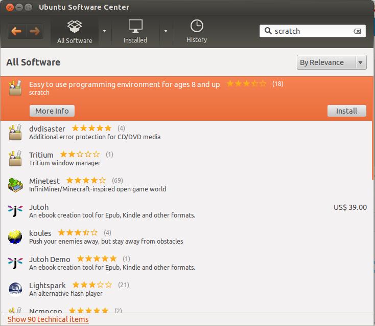 4. att. Scratch Ubuntu programmatūras centrā.