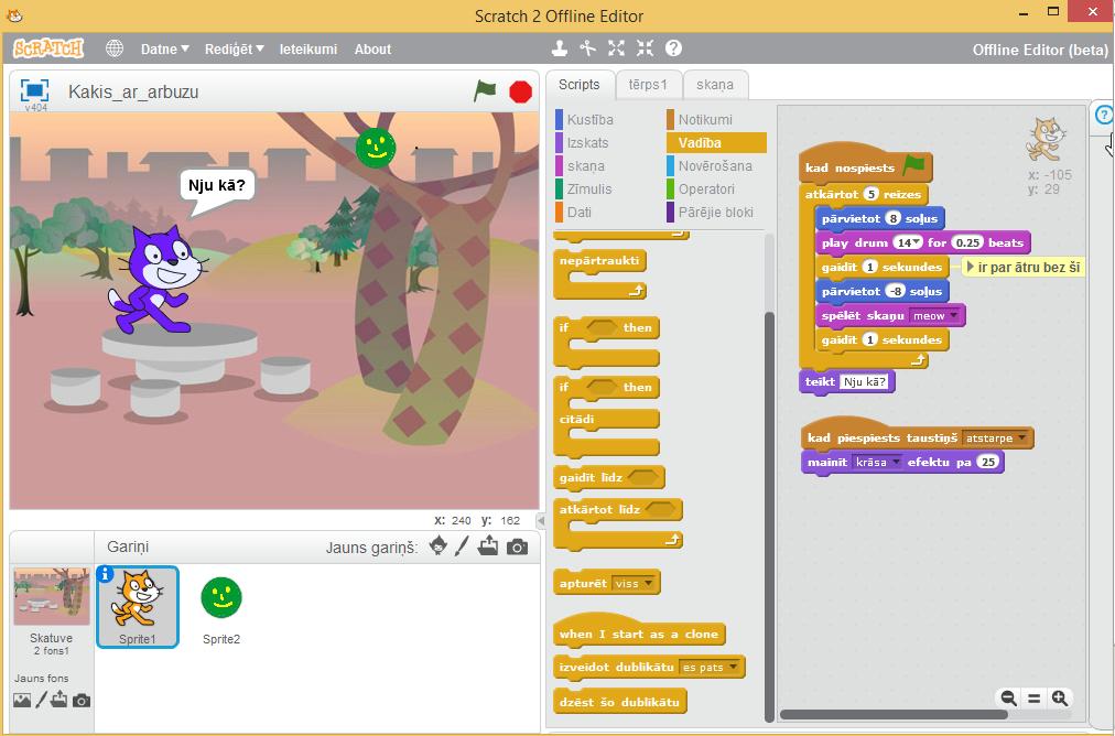 20. att. Scratch pirmais programmas piemērs beigās.